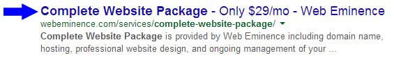 Page Title in Search Engine