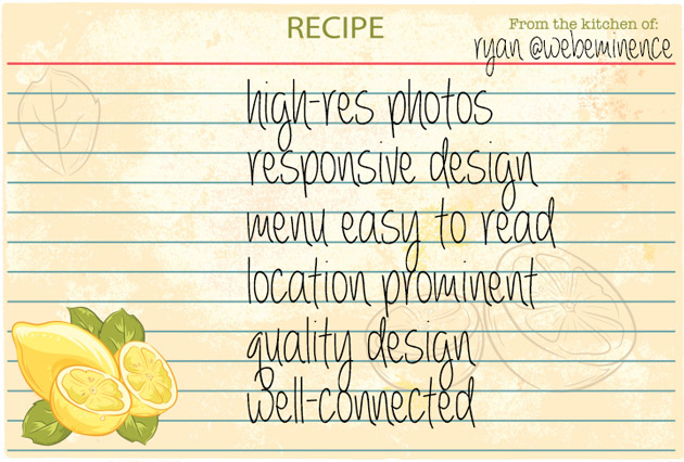 recipe for restaurant website