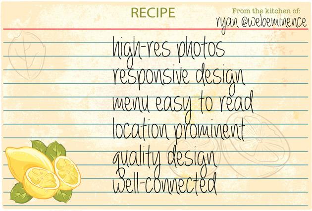recipe for restaurant website
