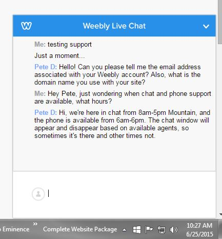 Weebly Support Live Chat