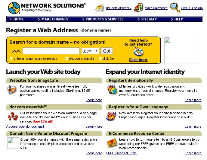 Network Solutions Old Website