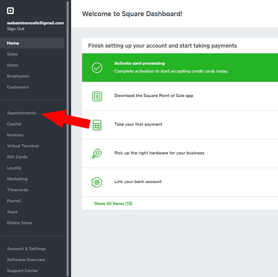 Square Appointments Dashboard