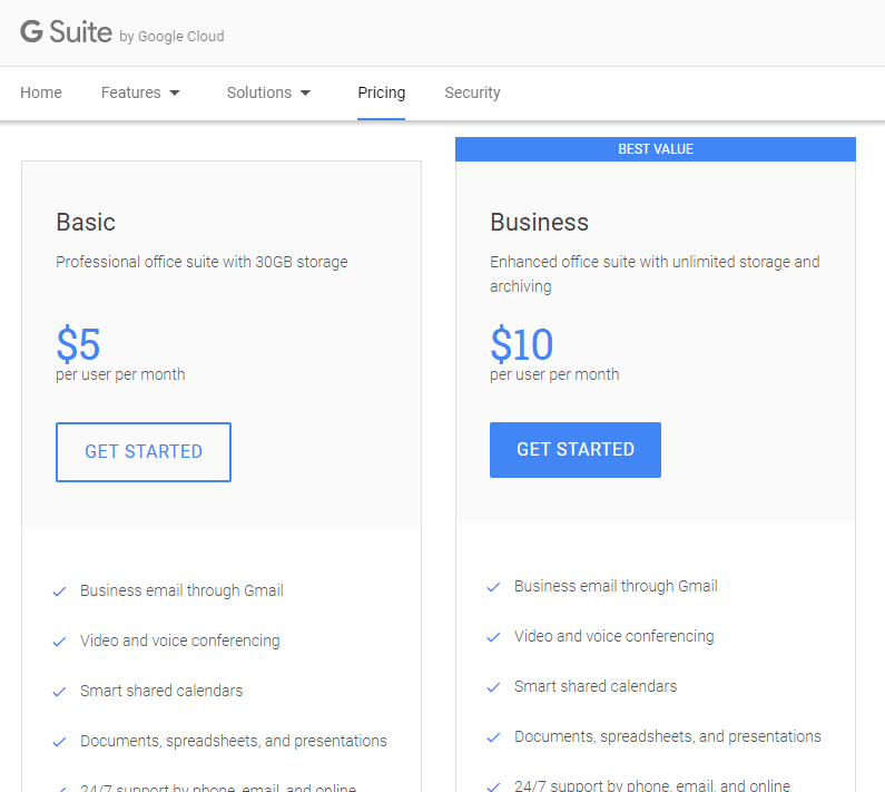 G Suite Prices