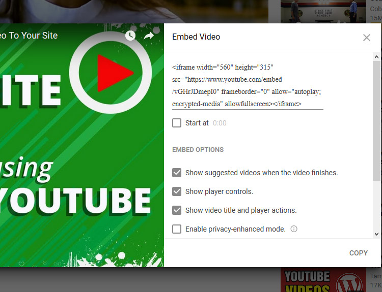 Embed Youtube Code