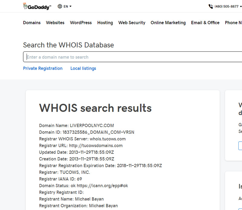 WHOIS Godaddy Lookup