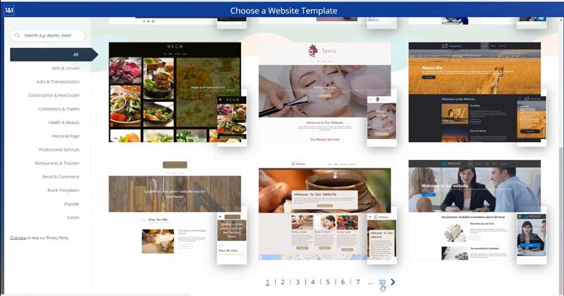 1&1 Website Templates