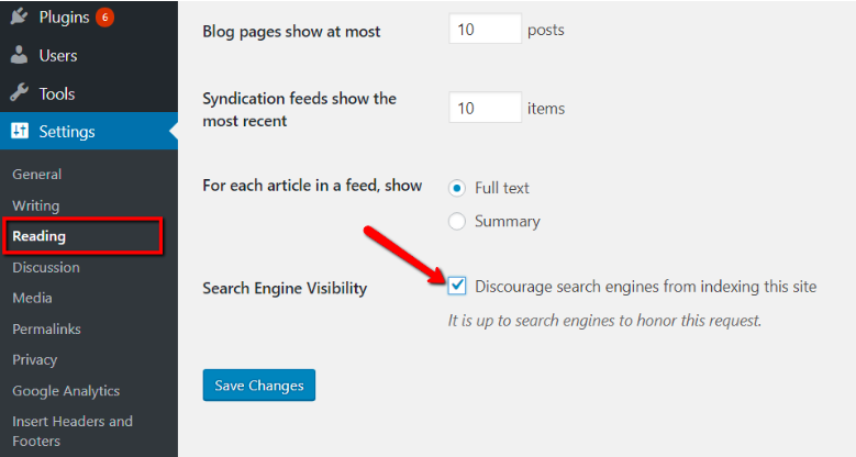 WordPress Search Engine Discourage